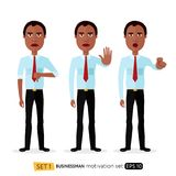 African american business man showing stop gesture with hand mot. Ivation vector flat cartoon illustration Royalty Free Stock Photography