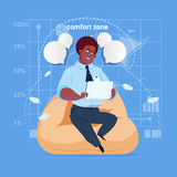 African American Business Man Sit In Comfort Zone In Office Use Tablet Computer Media Social Network Communication. Businessman Flat Design Vector Illustration Stock Photo