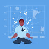 African American Business Man Sit Yoga Lotus Pose Relaxing Meditation Concept. Flat Vector Illustration stock illustration