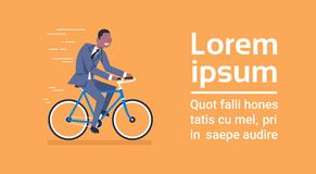 African American Business Man In Suit Ride Bicycle Over Template Blue Background With Copy Space. Flat Vector Illustration Stock Image