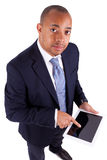 African American business man using a tactile tablet - African p Stock Images