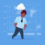 African American Business Man Wet Under Rain Big Problem Failure Concept. Flat Vector Illustration Stock Image