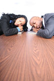 African American Business Partners. Business Man and Woman Sleeping Royalty Free Stock Photos