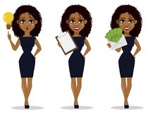 African American business woman cartoon character, set. Young beautiful businesswoman in smart casual clothes having a good idea, holding checklist and holding vector illustration