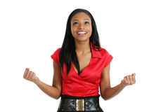 African american business woman celebrating Royalty Free Stock Images