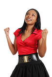 African american business woman celebrating Stock Photo