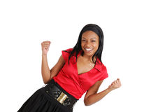 African american business woman celebrating Royalty Free Stock Image