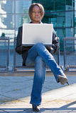 African american business woman with computer Stock Image