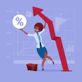 African American Business Woman Hold Red Arrow Up Financial Success Concept. Flat Vector Illustration Royalty Free Stock Photo