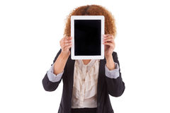 African American business woman holding a tactile tablet - Black Stock Photos