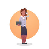 African American Business Woman Icon Lady Secretary Occupation. Flat Vector Illustration Royalty Free Stock Photography