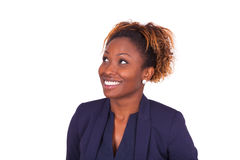 African American business woman looking up Stock Image
