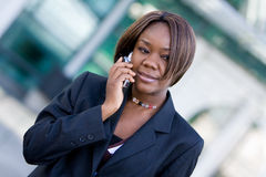 African american business woman with phone Royalty Free Stock Photos