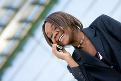 African american business woman with phone royalty free stock photo