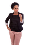 African american business woman pointing finger - Black people Stock Image