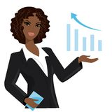 African american business woman pointing to  business trends Stock Images