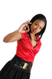 African american business woman showing ok Stock Photo