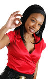 African american business woman showing ok Royalty Free Stock Image