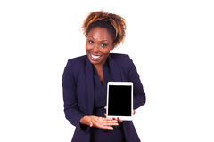 African American business woman showing a tactile tablet Royalty Free Stock Photo