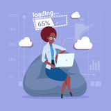 African American Business Woman Use Laptop Computer Loading Software Applications Media Social Network Communication. Businessman Flat Design Vector royalty free illustration