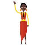 African American business woman waving her hand flat cartoon vector illustration. stock photography
