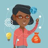 Young african woman writing on a virtual screen. African-american business woman writing on a virtual screen. Young business woman drawing a business diagram on Royalty Free Stock Photography