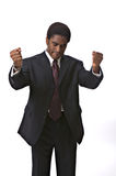 African-American businessman. Gesturing isolated against white background royalty free stock images