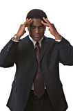 African-American businessman. With a headache isolated against white background Stock Image