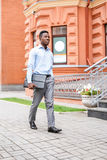 African American businessman with briefcase Royalty Free Stock Image