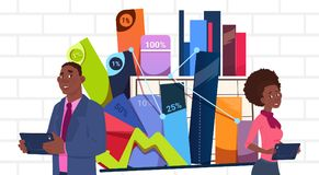 African American Businessman And Businesswoman Holding Presentation Stand Over Charts And Graph Business Woman And Man Royalty Free Stock Image