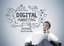 African American businessman, digital marketing royalty free stock photo