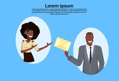 African american businessman getting envelope woman operator secretary concept support service cartoon character vector illustration