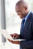 African american businessman laptop computer Royalty Free Stock Photos