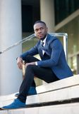 African american businessman sitting in the city Stock Photography