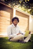 Technology and work in park. Stock Images
