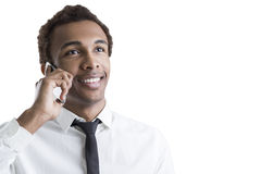 African American businessman with smartphone Stock Photos