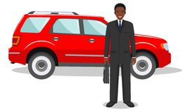 African, american businessman standing near the red car on white background in flat style. Detailed illustration of automobile and Stock Photography