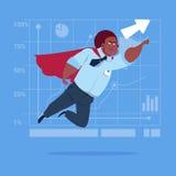 African American Businessman Super Hero Fly Up Financial Graph Arrow. Flat Vector Illustration Stock Photos