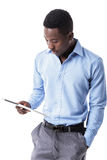 African American businessman with tablet royalty free stock photo