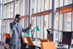 African American businessman talk by phone Royalty Free Stock Image