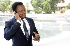 African american businessman talking to the phone Royalty Free Stock Photography