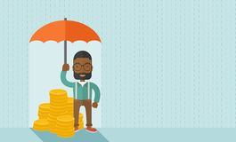 African-american businessman with umbrella as. An african-american businessman standing holding umbrella protecting his money to investments, money management Stock Photos