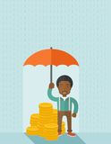 African-american businessman with umbrella as. An african-american businessman standing holding umbrella protecting his money to investments, money management Royalty Free Stock Photos
