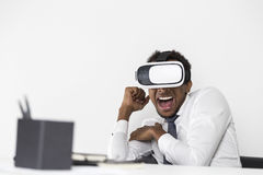 African American businessman in vr, scared Royalty Free Stock Photography