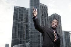 African American businessman waving Stock Photos