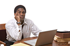 African-American businessman working on laptop Royalty Free Stock Photo