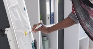 Hands of businessman writing on whiteboard at office. African american businessman writing business plan on office whiteboard during corporate presentation stock footage