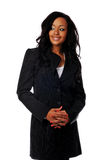 African american businesswoman. Young African American businesswoman smiling isolated against a white background Stock Photos