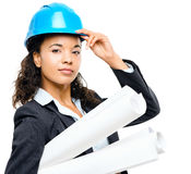 African American businesswoman architect holding blueprints isol Royalty Free Stock Image