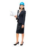 African American businesswoman architect holding blueprints isol Royalty Free Stock Images